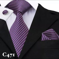 Men's Coordinated Silk Tie Set - Purple with White Polka Dots