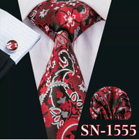 Men's Silk Coordinated Tie Set - Red Black Silver Floral Paisley