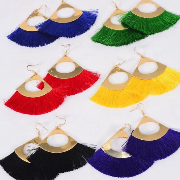Fish Hook Pierced Tassel Fringe Earrings