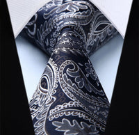 Men's Silk Coordinated Tie Set - Navy Silver Paisley