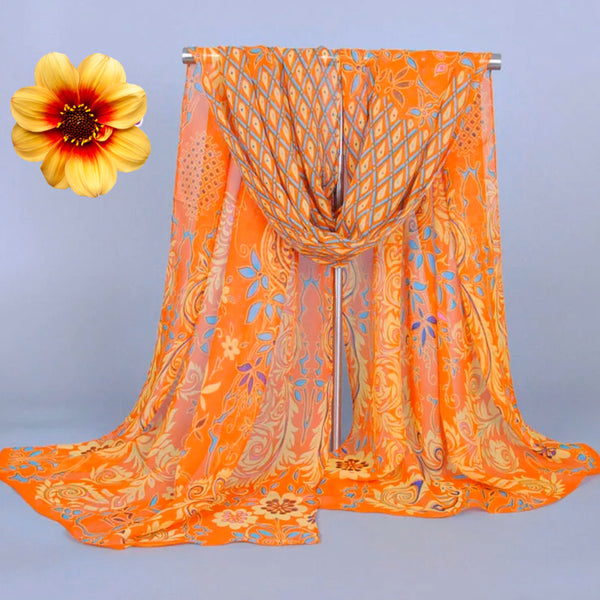 Lovely Floral Chiffon Scarf - Orange