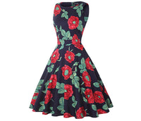 Vintage Inspired Cocktail Dress - Red Peony, Sizes Small - 2XLarge