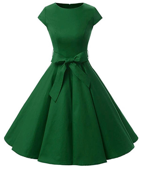 Vintage Inspired Cap Sleeve Dress, Size XS - 3XL, Green