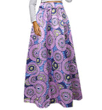 African Printed High Waisted Skirts, Lavender Circles, Sizes Small - XLarge
