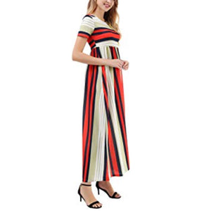 Empire Waist Long Maxi Dress with Pockets, Sizes Small - 2XLarge