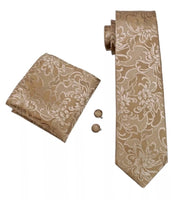 Men's Silk Tie Set - Golden Paisley