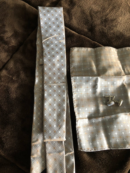 Men's Silk Coordinated Tie Set - Brown Gray Squared