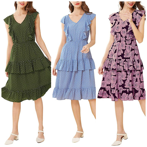 Casual Ruffle Style Summer Dress, US Sizes 4 - 16