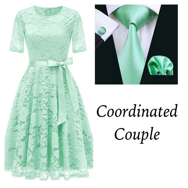 Coordinated Couple:  Women's Mint Lace Dress and Men's Mint Coordinated Silk Tie Set