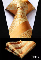 Men's Silk Coordinated Tie Set - Golden Orange Paisley