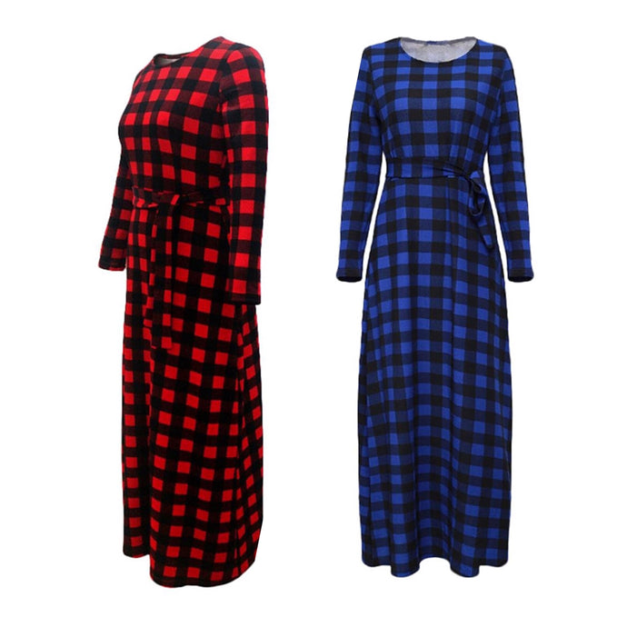 Women's Floor Length Long Sleeve Plaid Casual Dress, Sizes Medium - 5XLarge