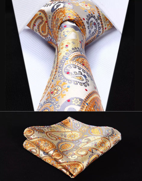 Men's Silk Coordinated Tie Set - Yellow Gray Paisley