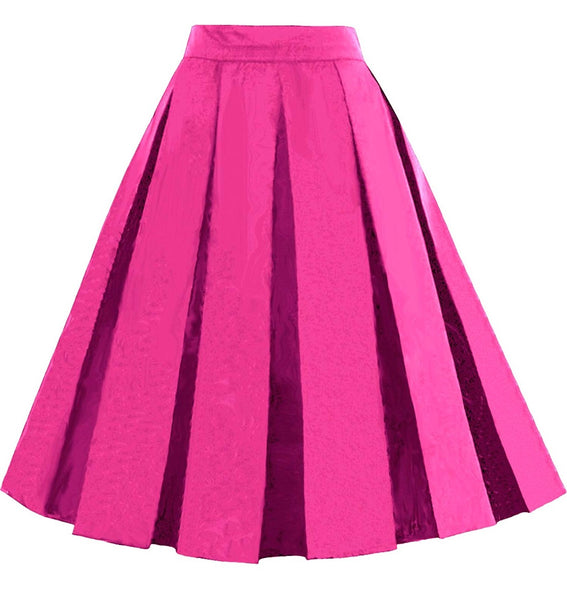 Pleated Midi Skirts, Fuschia,  Sizes XSmall - 3XLarge