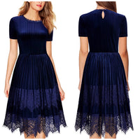 Flare Lace Contrast Pleuche Dress, US Sizes 4 - 18