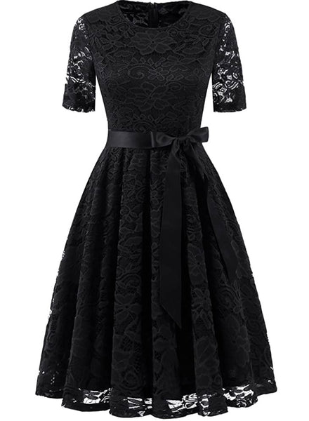Vintage Inspired Full Lace Cocktail Dress, Sizes Small - 3XLarge (Black)