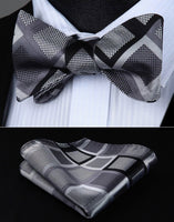 Men's Coordinated Bow Tie Set - Gray Black Check
