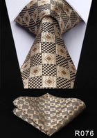 Men's Silk Coordinated Tie Set - Golden Brown Black Squared