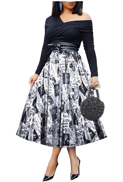 Pleated Newspaper Print Skirt, Sizes Small - 3XLarge