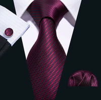 Men's Silk Coordinated Tie Set - Burgundy Blue Stripe