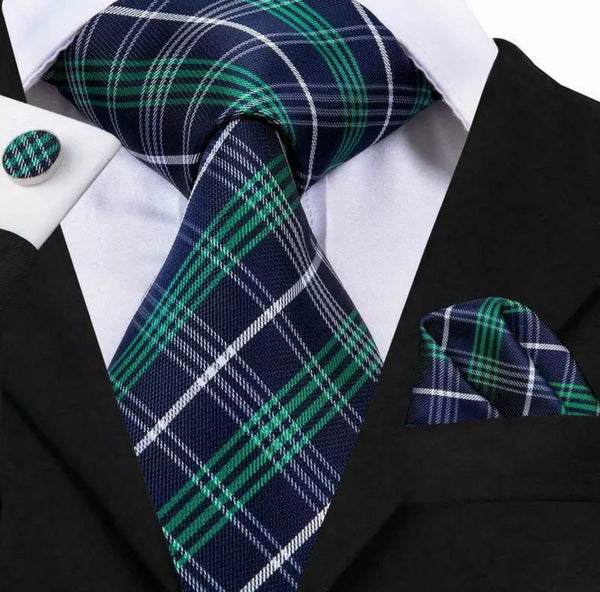 EXTRA LONG Men's Silk Coordinated Tie Set - Blue Green Plaid