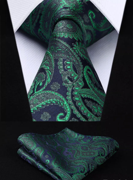 Men's Silk Coordinated Tie Set - Green Paisley