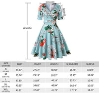 V-Neck Retro Look Swing Dress, Sizes Small - 2XLarge (US Sizes 4 - 22) Floral Blue