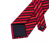 Men's Silk Coordinated Tie Set - Red Black Stripe