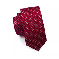 Men's Silk Coordinated Tie Set - Classic Red White Polka Dot