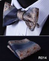 Men's Silk Coordinated Tie Set - Brown Blue Mix