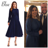 Elegant Frilled Long Sleeve Pleated Fit & Flare Dress, Sizes XS - XL
