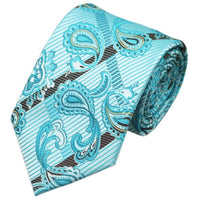 Men's Silk Coordinated Tie Set - Turquoise Brown Paisley