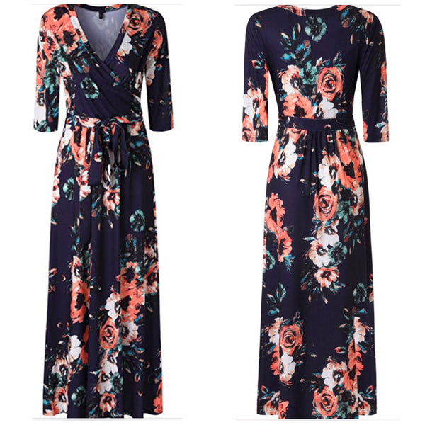 Floral Print Faux Wrap Long Maxi Dress with Belt, Sizes Small - 2XLarge (Multi-Navy) US 4 - 16