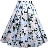 A-Line Pleated Printed Midi Skirts, Blue White Floral, Sizes XSmall - 3XLarge