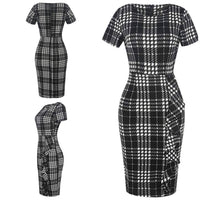 Business Style Pencil Dresses, Black Plaid, Sizes Small - 2XLarge