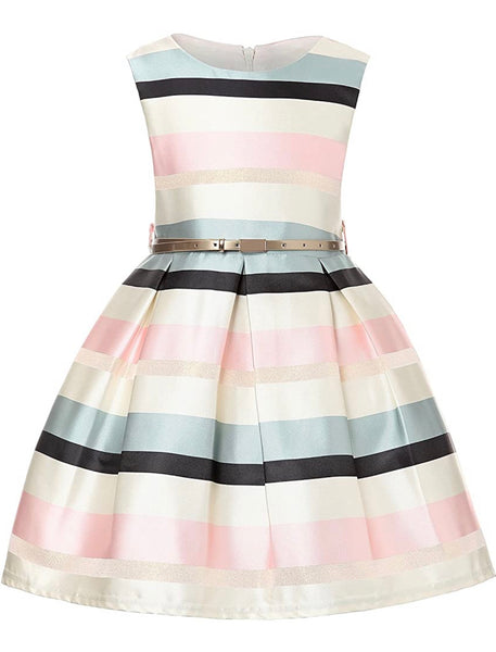 Little Girl's pink and white Striped Party Dress, Sizes 2T - 14 years