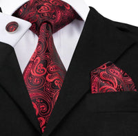 Men's Silk Coordinated Tie Set - Red and Black Paisley