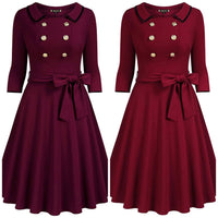 Retro Inspired Belted Dress, Sizes Small - XLarge