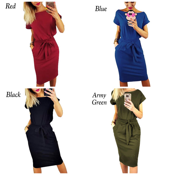 Casual Short Sleeve Casual Dress, Sizes Small - XLarge (US 4 - 18)