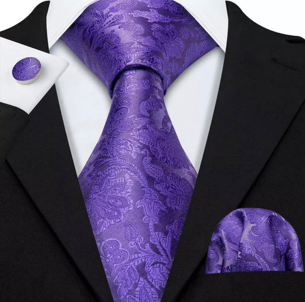EXTRA LONG Men's Silk Coordinated Tie Set - Solid Light Purple Paisley