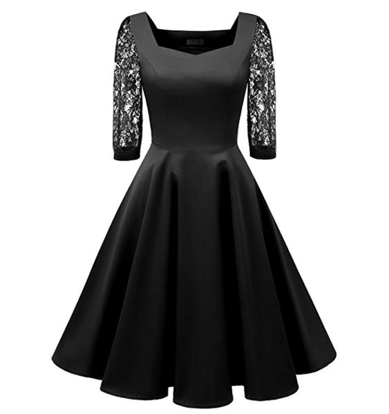 Vintage Inspired Lace Sleeve Swing Dress, Black, Sizes XS - 2XL