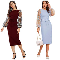 Elegant Appliqué Bishop Long Sleeve Dress, Sizes XSmall - 2XLarge