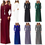 Long Casual Maxi Dress with Pockets, US Sizes 0 - 20