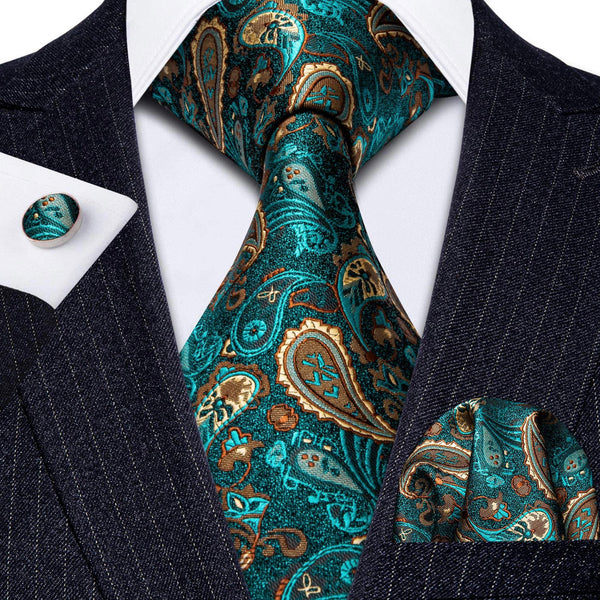 Men's Coordinated Silk Tie Set - Teal Gold  Paisley