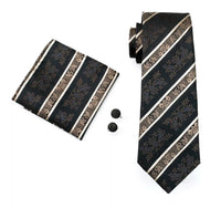Men's Silk Coordinated Tie Set - Brown & Beige Paisley Stripe