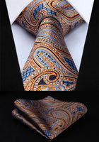 Men's Silk Coordinated Tie Set - Orange Blue Paisley