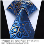 Men's Silk Coordinated Tie Set - Blue Yellow Paisley