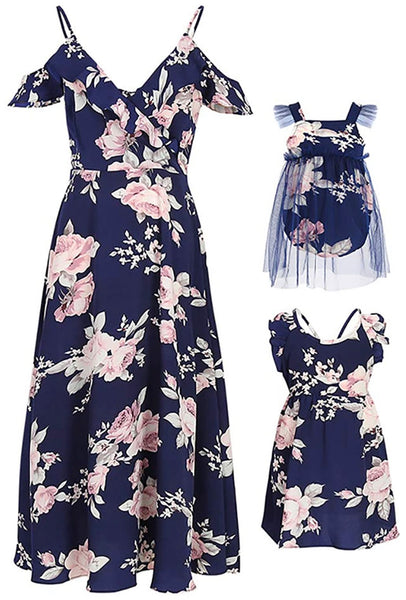 Mommy & Me Floral Print Dresses, Dark Blue