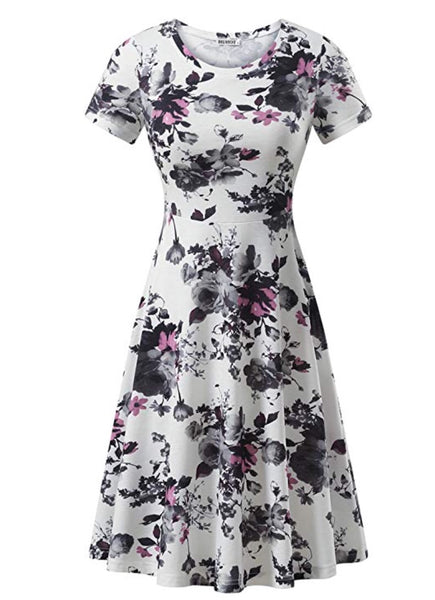 Casual Flared Midi Dress, Sizes XSmall - 2XLarge (Design, Flowers 18)