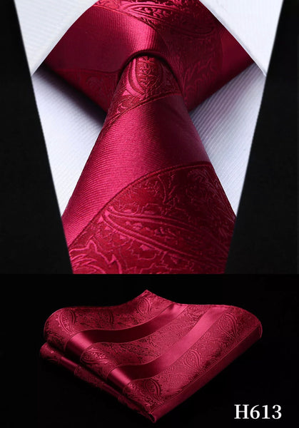 Men's Silk Coordinated Tie Set - Dark Red Paisley Stripe