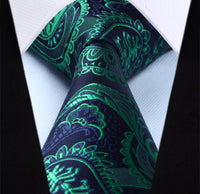 Men's Silk Coordinated Tie Set - Green Blue Paisley